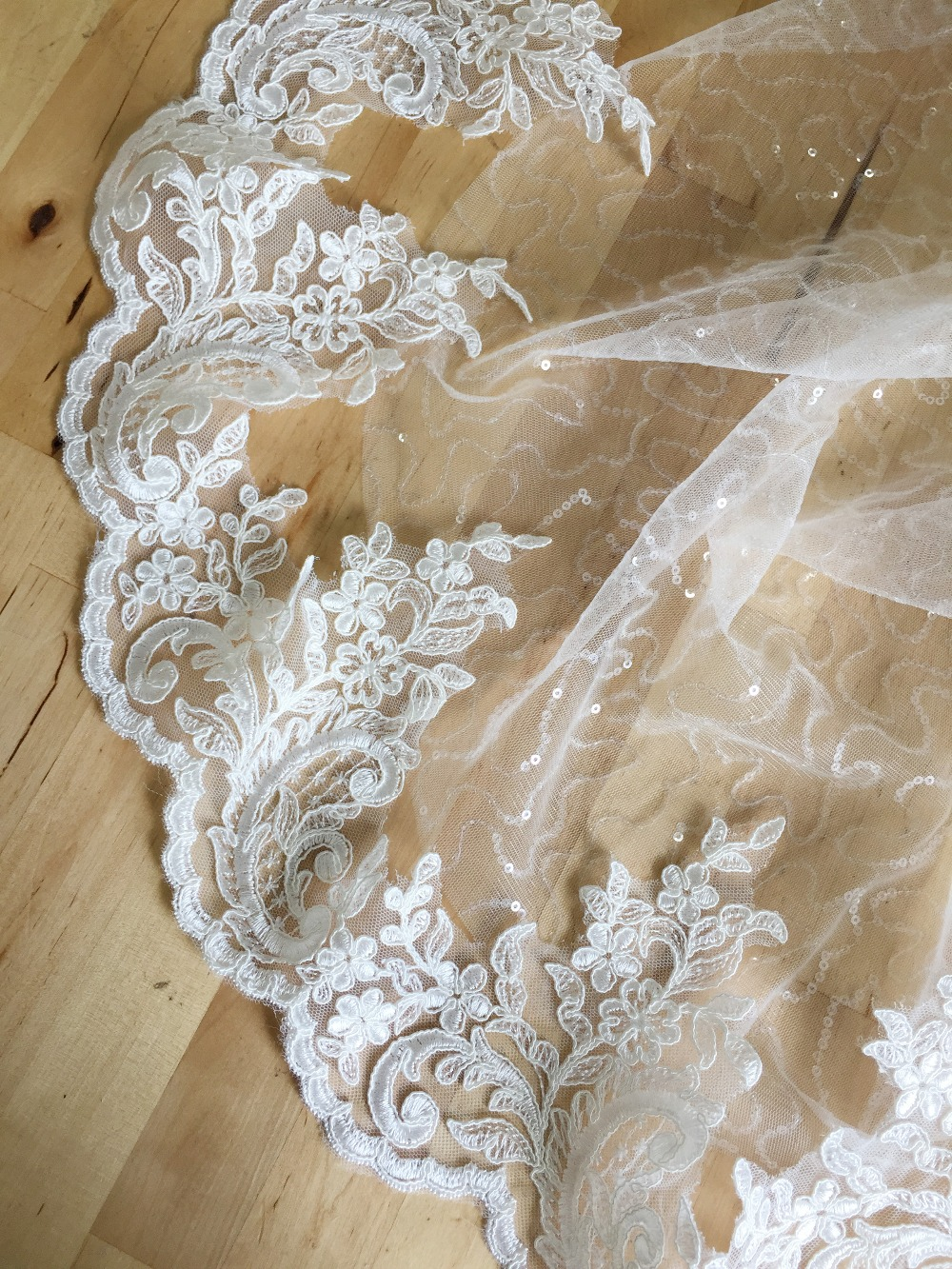 1 Yard 16cm Wide Floral Embroidery Bridal Lace Trim For Wedding Veil Dress Ivory