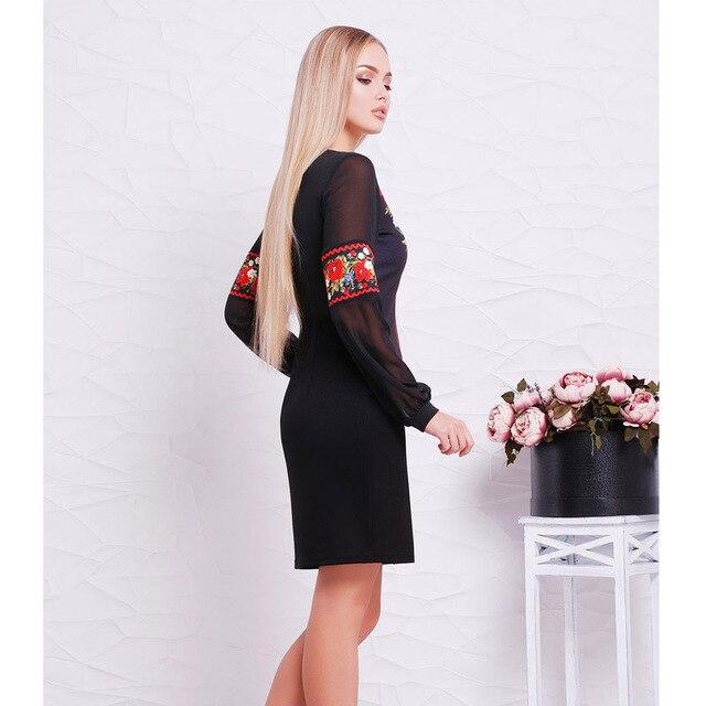 2018 New Designer Women Dress O Neck Flower Casual Straight Full Sleeve Female Dresses Sexy Big Size 6XL  Ukrainian Vestidos 2