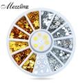 New 360pcs/set Gold Silver Metal Nail Art Sticker Wheel Hearts Teardrop Design Tiny DIY Nail Decorations