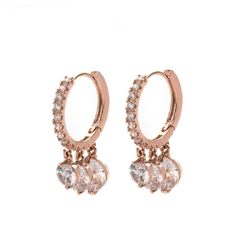 New Tiny Round Clear CZ Huggie Hoop Earrings Women Jewelry Fashion Allergy Free Rose Gold Female Party Wedding Acessories