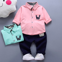 Newborn Infant Baby Boy Girl W Printing Patchwork Cotton Long Sleeve Romper Two Pieces Toddler Clothes