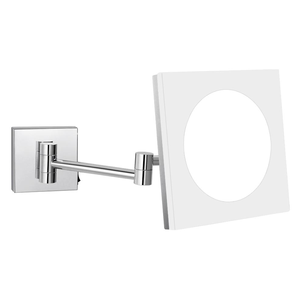 GuRun ผนังอาบน้ำขยายเครื่องสำอางโต๊ะเครื่องแป้งกระจกแต่งหน้าด้วยไฟ LED และกำลังขยาย 10X / 7X / 5X, โครเมี่ยมเงา, สแควร์