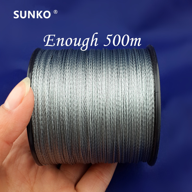 Genug 500 Mt SUNKO Marke Super Strong Japan Multifilament PE Material Geflochtene Angelschnur 8 10 16 22 30 40 50 60 70 80 LB