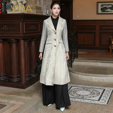 VOA 2017 Autumn Slim Beige Plus Size Women Trench Coat Fashion Suit Collar Long Sleeve Heavy Silk Windbreaker FLH00101