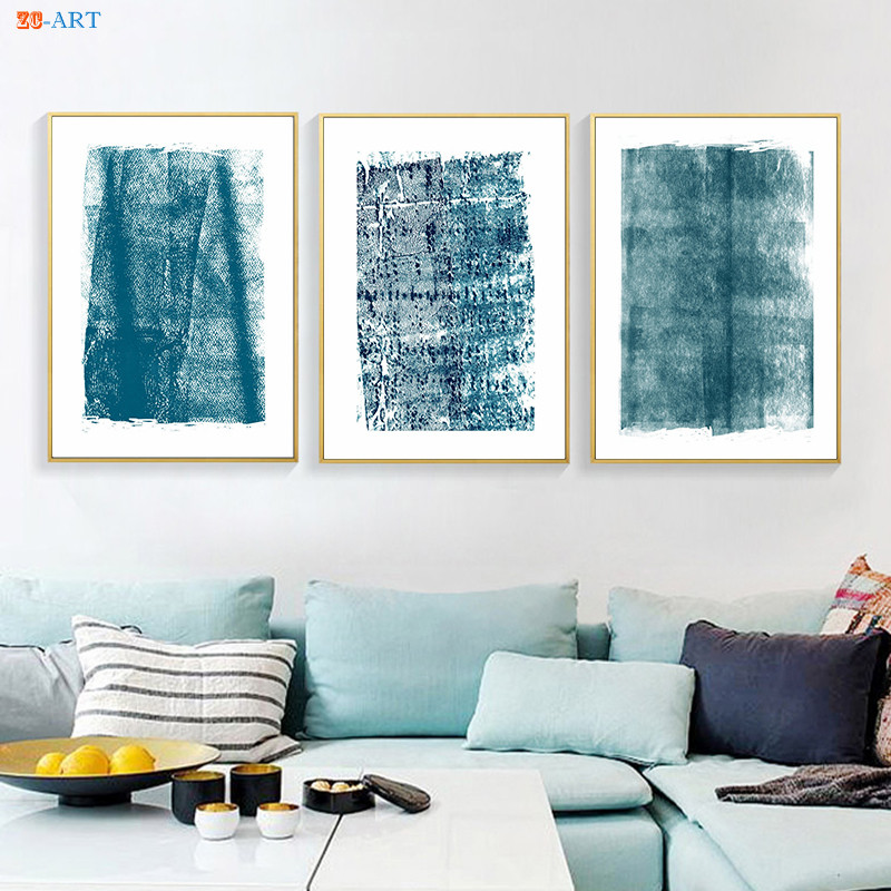Blue Wall Art Abstract Painting Modern Canvas Painting Posters And Prints Scandinavian Art Wall Pictures For Living Room Decor