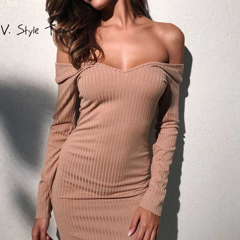 Autumn Off Shoulder Dress Women Knit Sexy Bodycon Leisure Casual vestido de festa Female Music Festival Slim Boho Midi Dresses