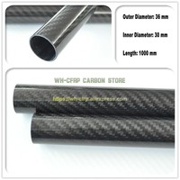 36mm ODx 30mm ID Carbon Fiber Tube 3k 1000MM Long (Roll Wrapped) carbon pipe , with 100% full carbon, Japan 3k improve material