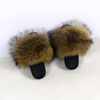 Free shipping Women Raccoon Fur Slippers Real Fur Slides Female Sandals With Fur Home Cute Plush Shoes