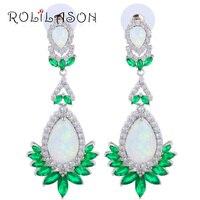 ROLILASON Tuyệt Vời Trắng & Green Cháy Opal Bạc Drop Bông Tai Opal Jewelry OES637 cho Phụ Nữ Món Quà Sinh Nhật