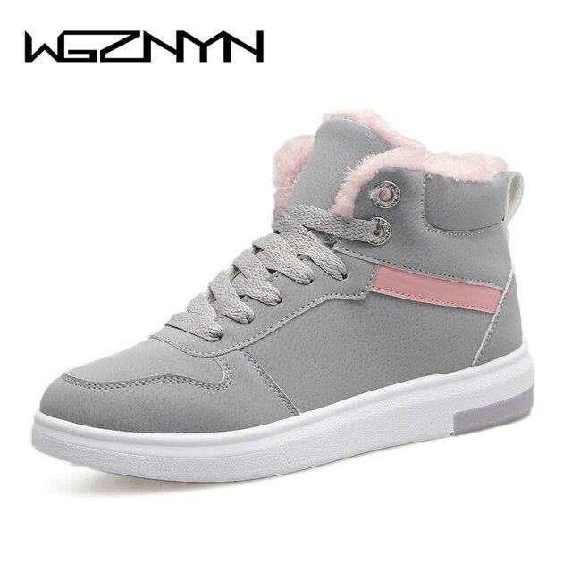 WGZNYN 2018 Phụ Nữ Khởi Động Mùa Đông Ấm Nền Tảng Tuyết Mắt Cá Chân Khởi Nữ Giày Thường Toe Vòng Sneakers Nữ Botas Mujer #0402