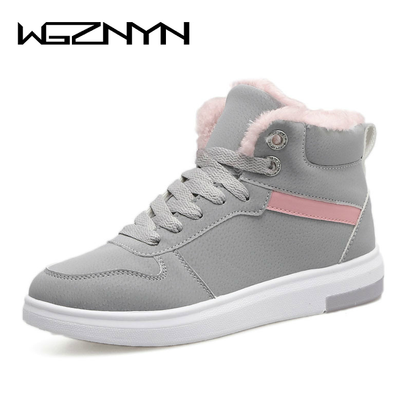 WGZNYN 2018 Women Winter Boots Warm Platform Snow Ankle Boots Women Casual Shoes Round Toe Sneakers Female Botas Mujer #0402 fenix hp25r 1000 lumen headlamp rechargeable led flashlight
