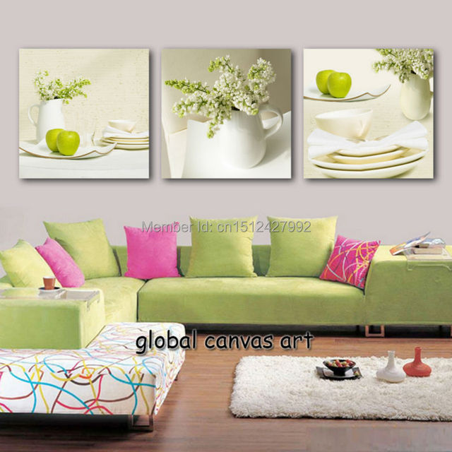 Framed 3 Panel Wall Art Modern Home Decoration Abstract Vase Green Apple Canvas Print Oil