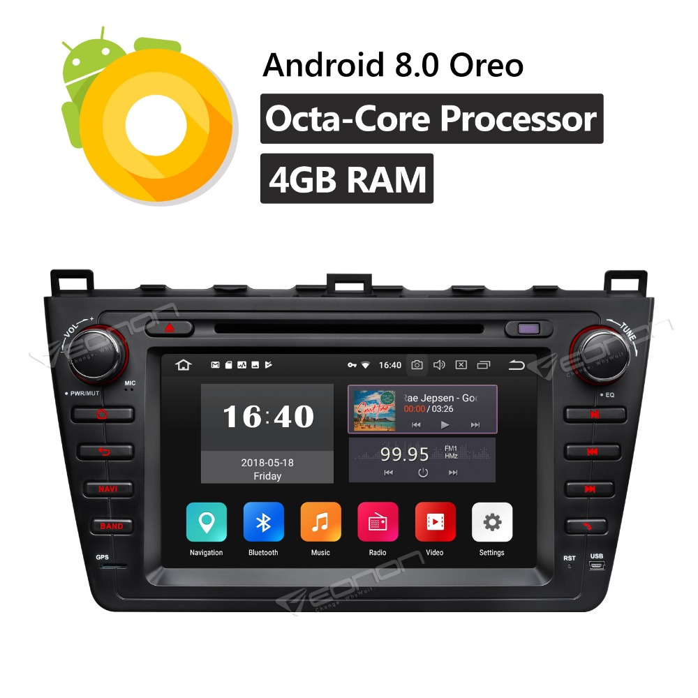 "GA9198B 8"" Android 8.0 Octa Core Car DVD Stereo GPS Navigation Bluetooth WIFI 4G FM Touch Screen MP3 OBD2 for Mazda 6 2009-2012"