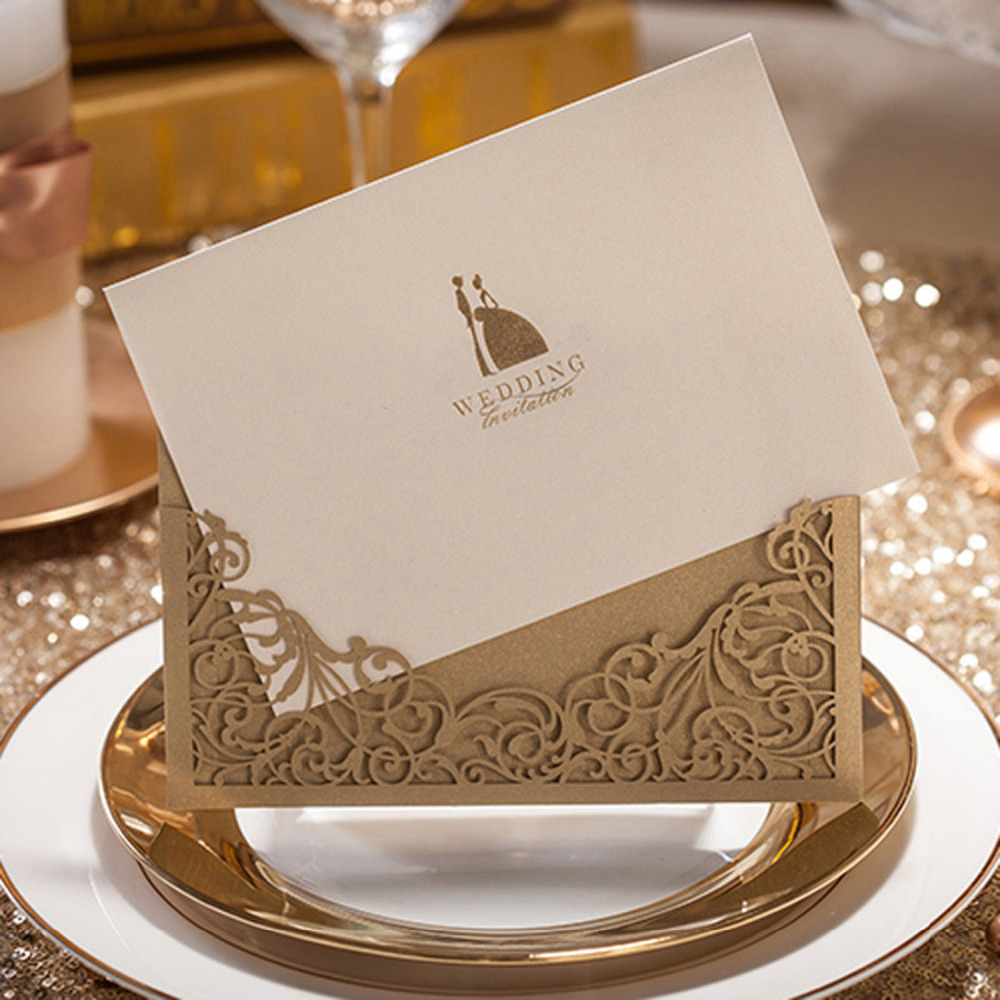 100pcs lot Gold Laser Cut Wedding Invitations Cards with Bride and Groom Free Printing Party Invitation