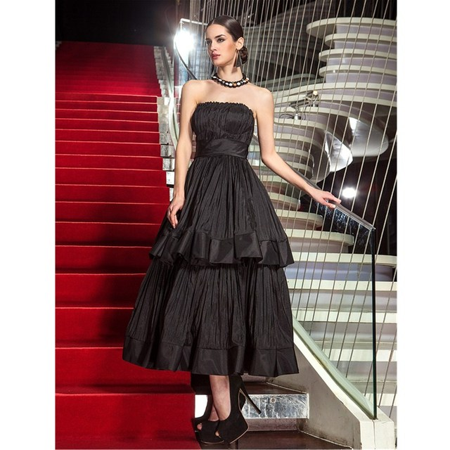 TS Couture A Line Strapless Tea Length Taffeta Formal Evening ...