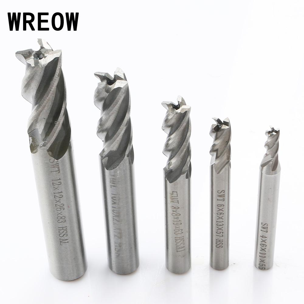 New 5pcs/Set 4 6 <font><b>8</b></font> 10 12 <font><b>mm</b></font> HSS Straight Shank 4Flute Milling <font><b>Cutter</b></font> Metal Drill End Mill Router Drill Bit <font><b>Cutter</b></font> Tool For steel image