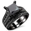 Black Square Crystal Zircon Ring Set Black Gold Plated Imitation Gemstone Engagement Jewelry Wedding Rings For Women
