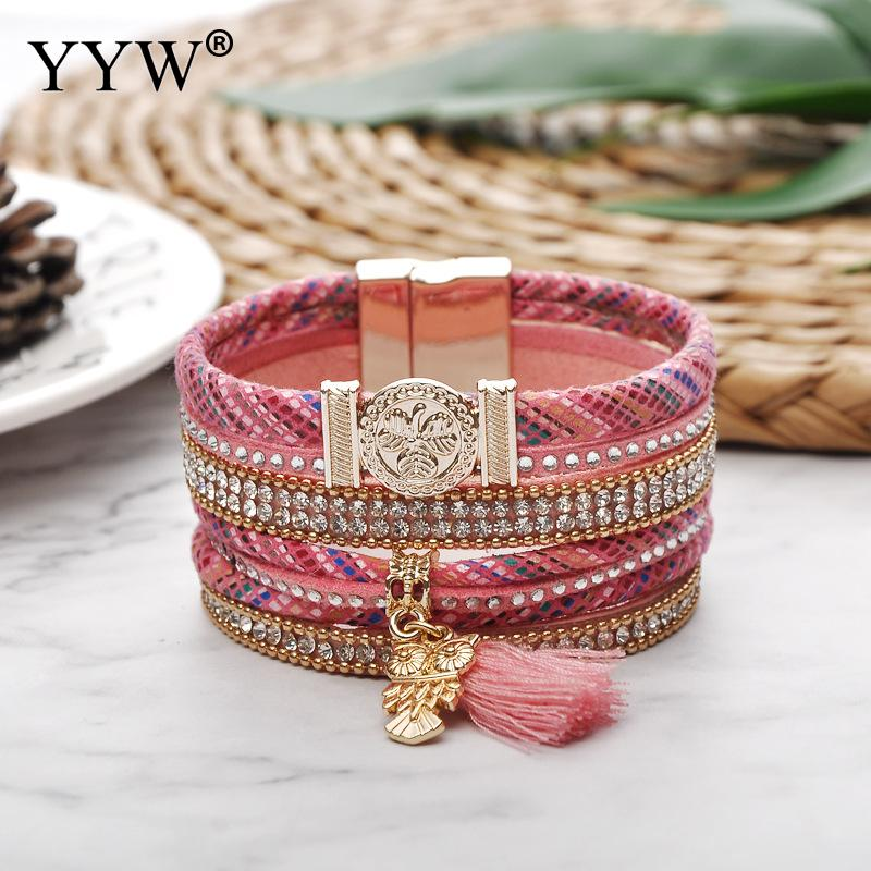 New Design Fashion Style Bracelet Owl Charms Leather Cord Bracelets With Tassel High Quality Jewelry For Women