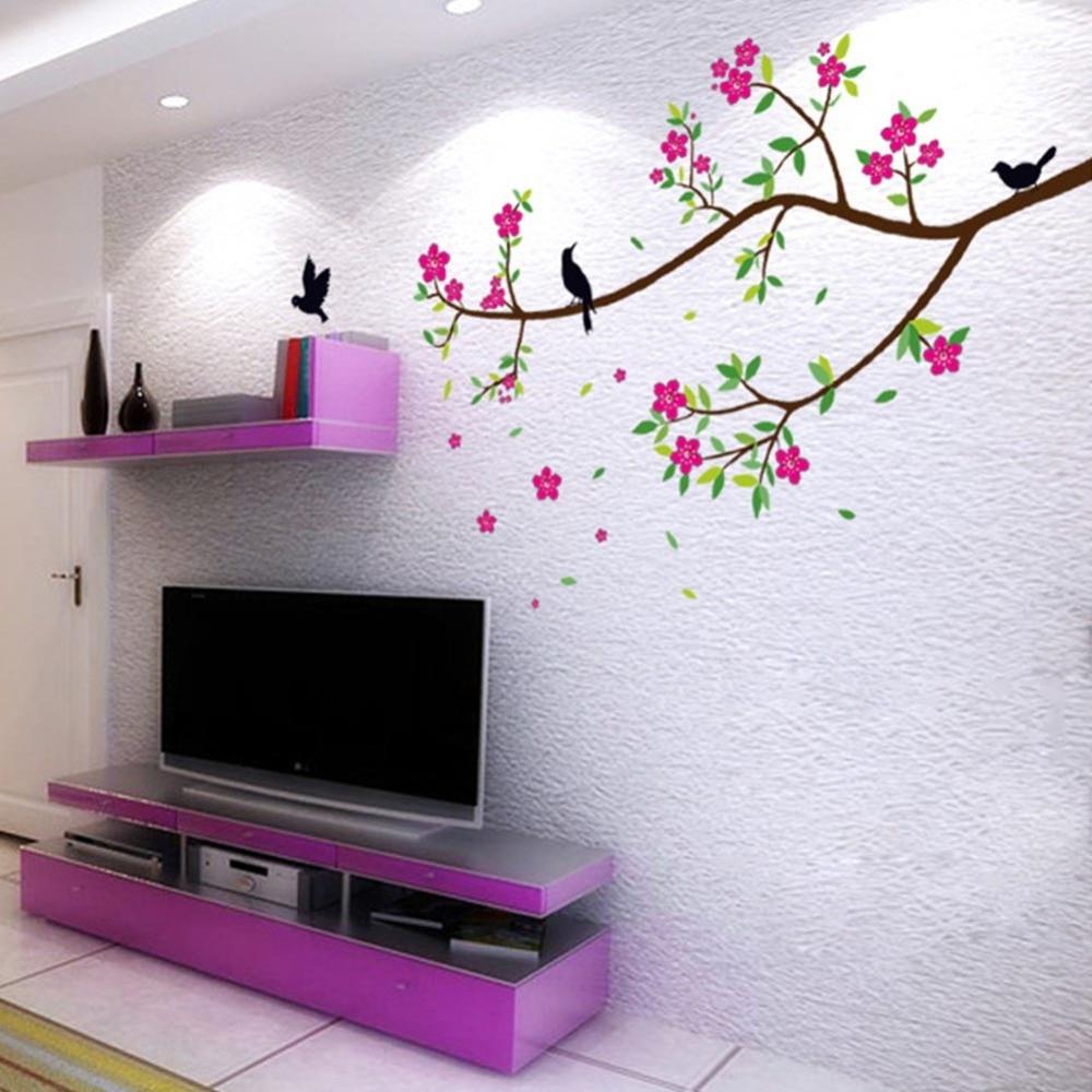 e970aa6c4e Flower Wall Stickers Living Room Home Garden Decorations Adesivo De