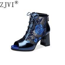 3b41e9240128a5 ZJVI femme d'été peep toe cheville bottes chaussures pour femmes véritable  en cuir maille
