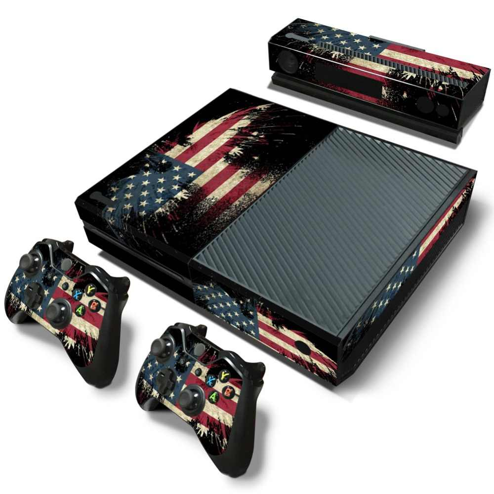 Vinyl Skin Decal Cover for XBOX One Console +2 Decals controller-The USA flag