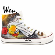 Wen Design Custom Hand Painted Shoes One Punch Man Anime Shoes Woman Man s High Top