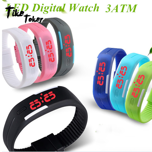 2018 Candy Color Men's Women's Watch Rubber LED kids Watches Date Bracelet Digit