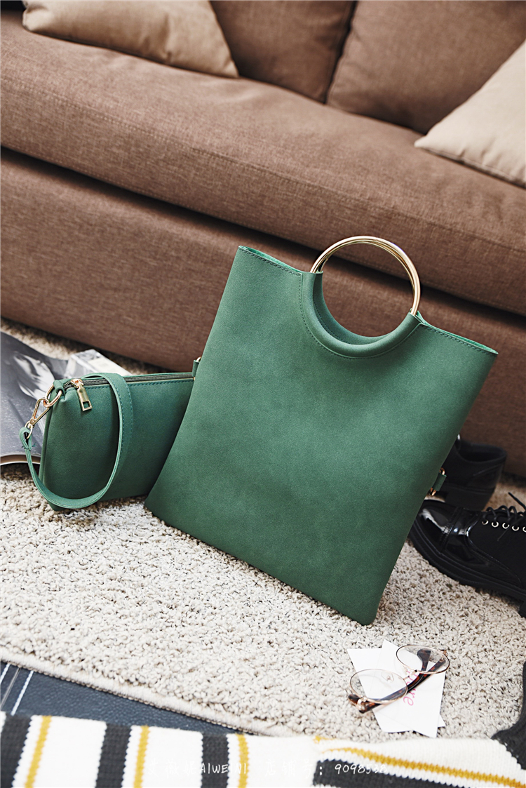Casual Women Tote Bag 2 Pcs Set Folding Envelope Clutches Faux Suede Shoulder Bag Lady Hand Bag Black Red Shopper Handbag Purses 15