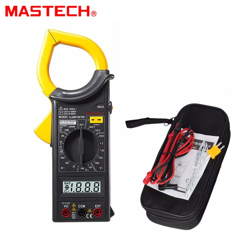 MASTECH M266C цифровой зажим мультиметр для авто Амперметр Вольтметр Омметр w/емкость и частота тесты детектор с диодом