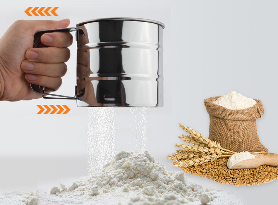 Mechanical Flour Sugar Icing Mesh Sieve Sifter Shake Baking Stainless Steel Nice