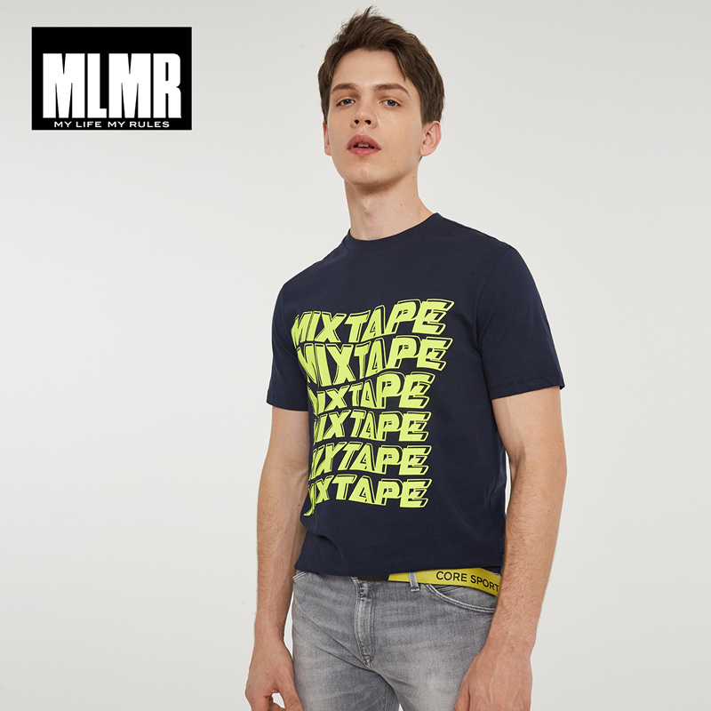 MLMR Men's Slim Fit Letter Printed   T  -  shirt   Crew Neck Tshirt Tee Top Men's Black&White   T     shirt   JackJones 2019 New Brand 2181T4608