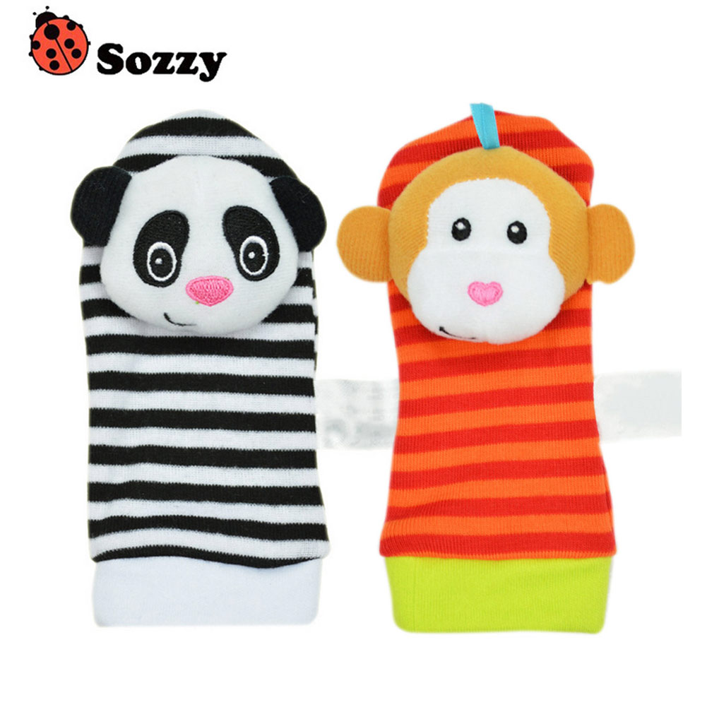 1 Pair Sozzy Infants Cartoon Animals Rattle Toys Foot Socks Protect Baby Care Toys BM88