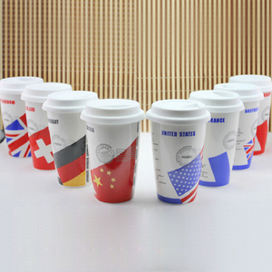 Double layer Classic Country flag ceramic coffee mugs cup mug 12oz china bone cup with silicon cap