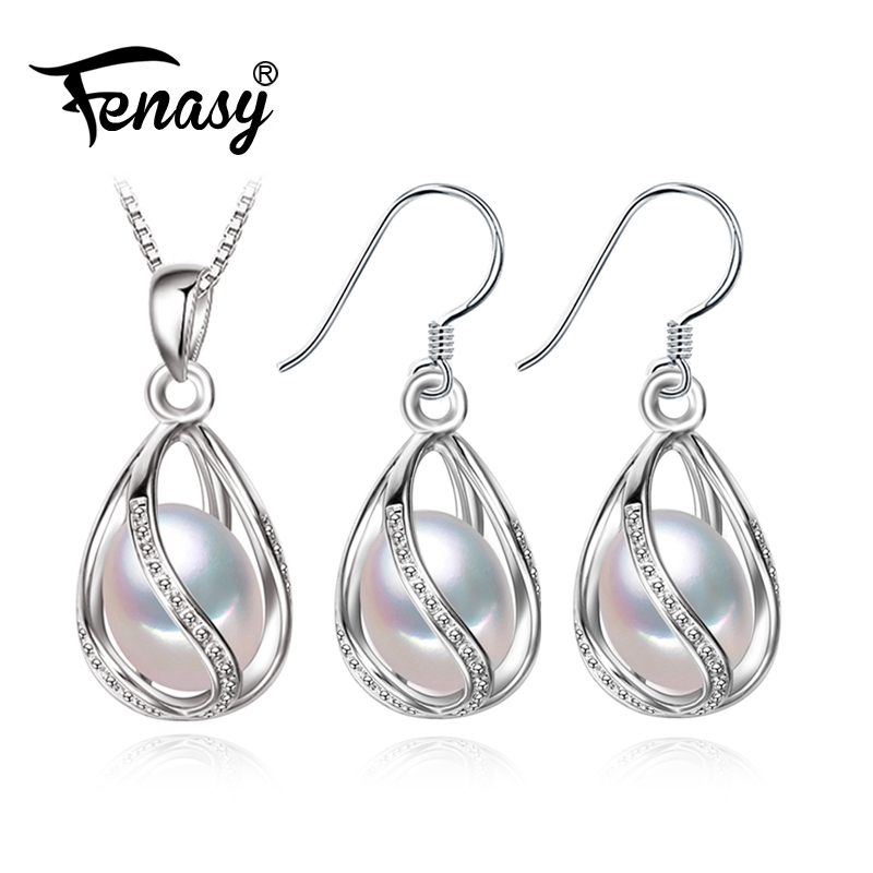 FENASY flower Pearl Jewelry Set,natural Pearl Pendant Necklace and stud Earrings,Natural earrings for women,wedding jewelry a suit of vintage flower leaf necklace and earrings for women