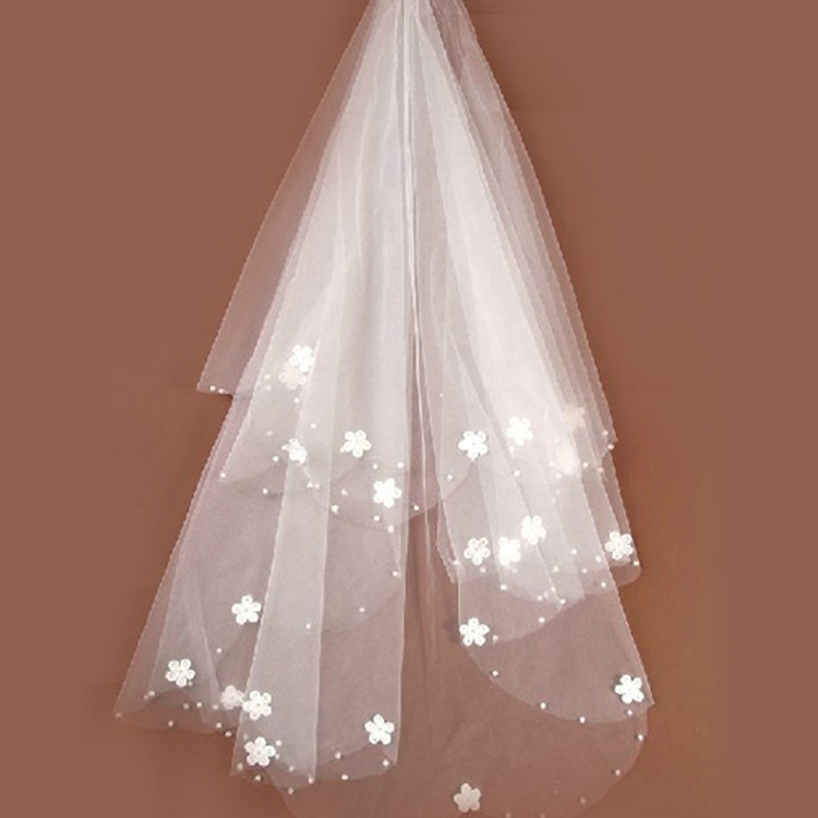 Brides Ivory Wedding Veil Tulle Beaded Flower Bridal Veils 2020