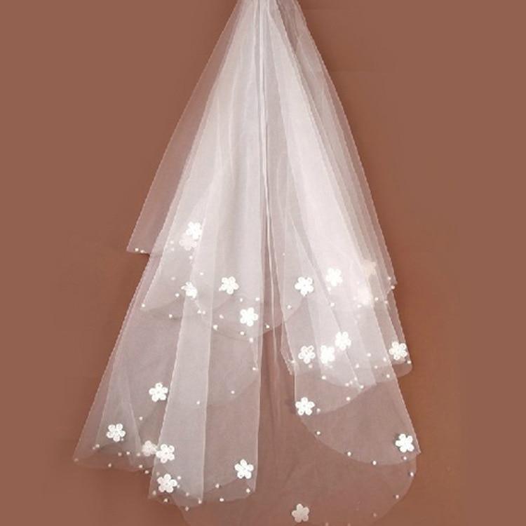 Brides Ivory Wedding Veil Tulle Beaded Flower Bridal Veils 2020