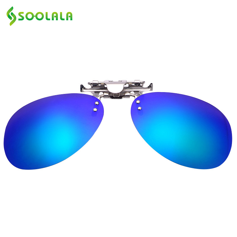 SOOLALA Fold Polarized Clip on Sunglasses clip on glasses square Polaroid Lens Men Women mirror clip