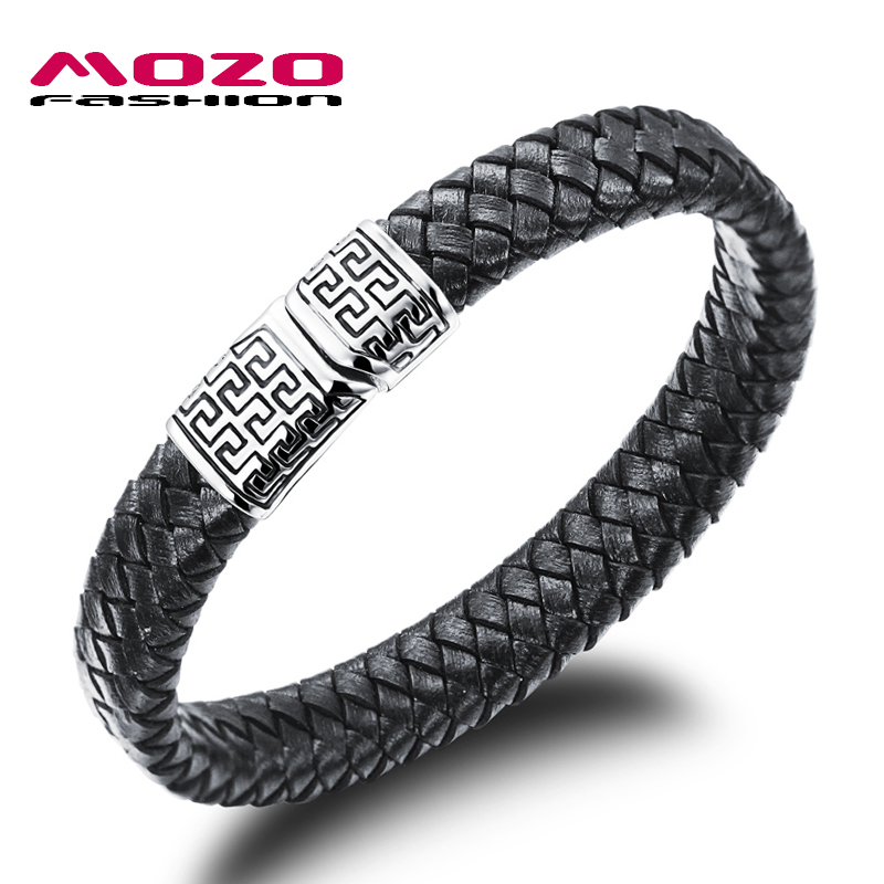 MOZO FASHION Hot Sale Men Jewelry Black Leather Bracelet Stainless Steel Magnetic Clasps Bracelet Vintage Man Accessories LPH938