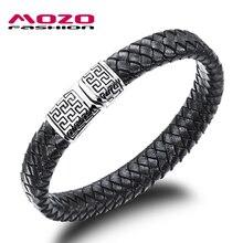 MOZO FASHION Hot Sale Men Jewelry Black Leather Bracelet Stainless Steel Magnetic Clasps Bracelet Vintage Man Accessories LPH938