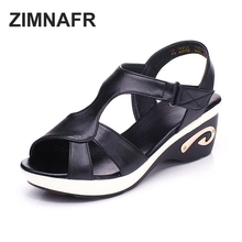2017 summer new female sandals genuine leather black and white toe large yards casual mom sandals wedges classic female sandals