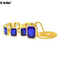 Mens Hip Hop Necklace & Bracelet Set Gold Tone Iced Out Square Blue Black Color Stone Pendant Rope Chain Necklace