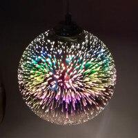 15/20cm 3D colorful Plated Glass Mirror Ball hanging light fixture Classic design LED lamp pendant light diameter