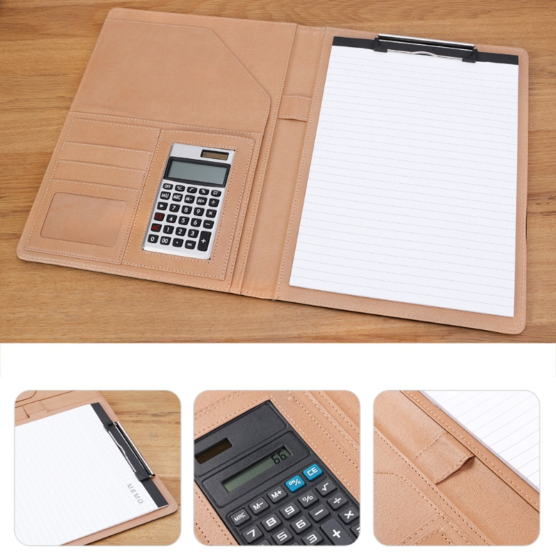 A4 Leather Conference File Folder for Documents Manager Organizer with Calculator