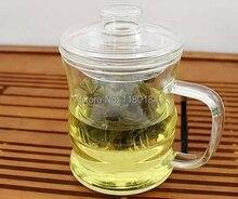 1 UNID Alta borosilicato resistente al calor vidrio taza de té con un filtro de cubierta de bambú tetera de cristal 350 ml OL 0147