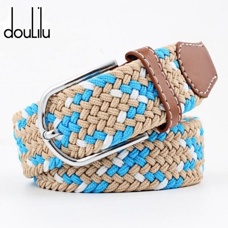Men Women's Lengthen Elastic Knitted Canvas Long Belts  Female Dress Pin Buckle Boho Strap Casual Brand Jeans Luxury Waist Belt