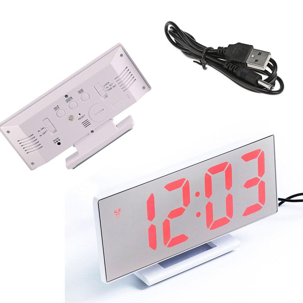 Multifunctional Digital Alarm Clock Table Desktop LED Mirror Snooze Display Time Night LCD Light in Alarm Clocks from Home Garden