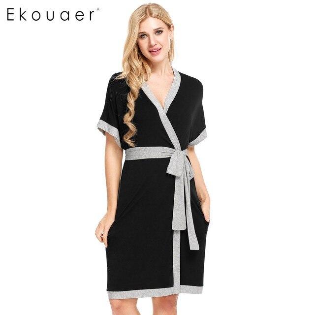 461f631bb8 Ekouaer Brand Fashion Robe Women Sleeveless Solid Contrast Color Loose Bathrobe  Sleepwear Summer Casual Nightwear Dressing Gown