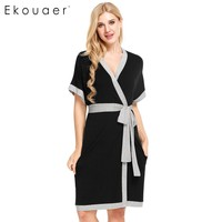 Ekouaer 2017 Brand Fashion Robe Womens Sleeveless Solid Contrast Color Loose Sleepwear Summer Casual Nightwear Plus