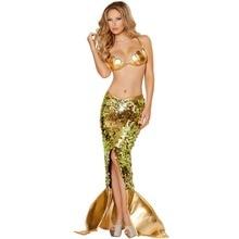 Deluxe brillante de oro traje de sirena sexy mar sirena de lentejuelas sirena de disfraces cosplay del partido de halloween fancy dress for women