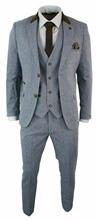 Mens 3 Piece Herringbone Tweed Light Blue Sky Brown Slim Fit Suit Vintage custom